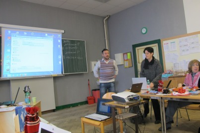 Theo, the Greek teacher doing the presentation of his school in Athens.